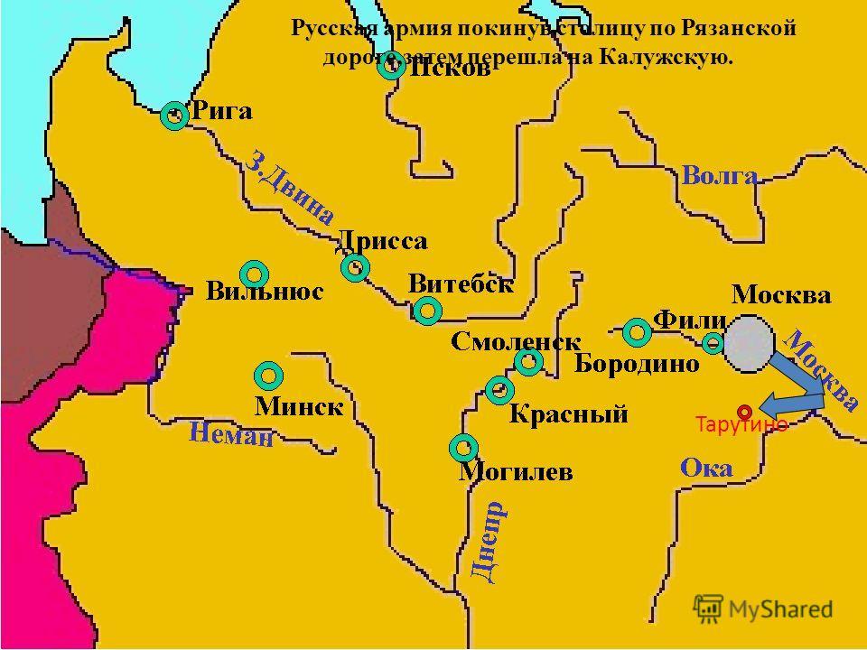 Русская армия покинув столицу по Рязанской дороге,затем перешла на Калужскую. Тарутино