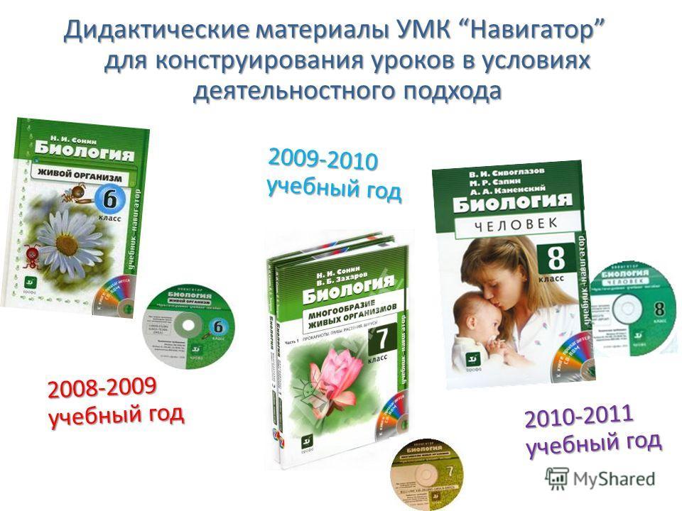 Дидактические материалы УМК Навигатор для конструирования уроков в условиях деятельностного подхода 2008-2009 учебный год 2009-2010 учебный год 2010-2011 учебный год
