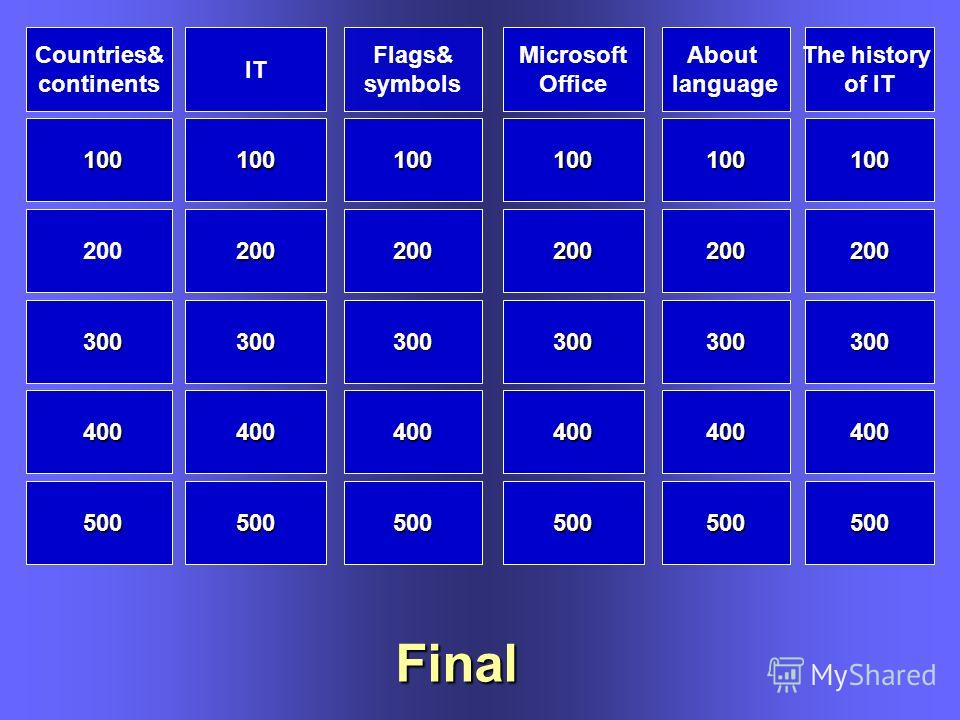Flags& symbols IT Countries& continents About language Microsoft Office 100 200 300 400 500 100 200 300 400 500 500 200 300 300 400 400 100 200 300 400 500 100 200 300 400 500 100 100 Final The history of IT 100 200 300 400 500