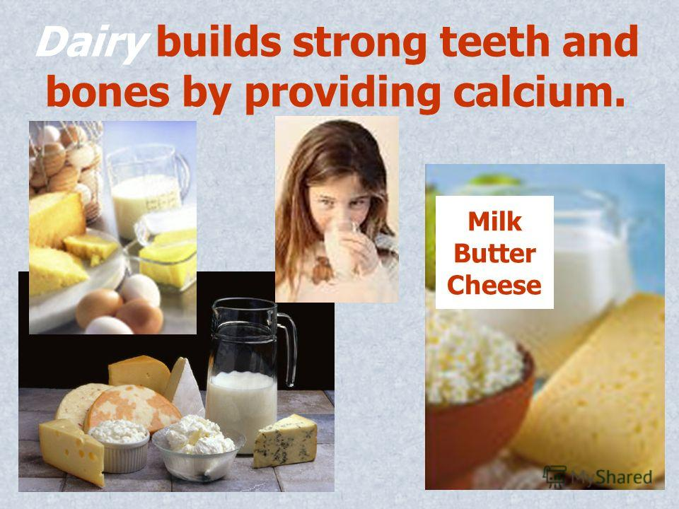 Dairy builds strong teeth and bones by providing calcium. Milk Butter Cheese