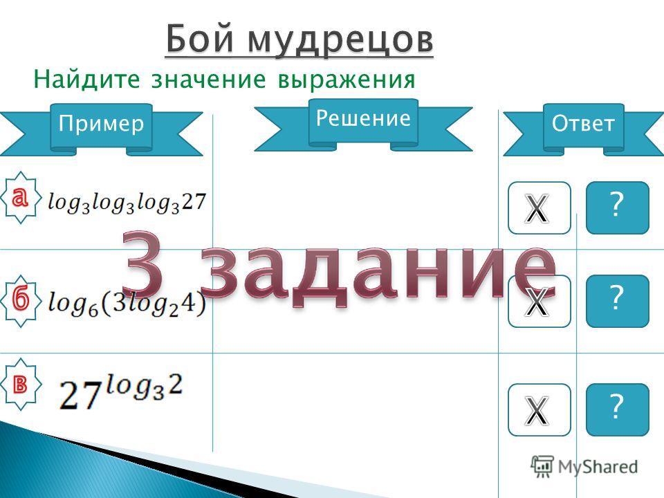 Найдите значение выражения Пример Решение Ответ 2 9 22 ? ? ?