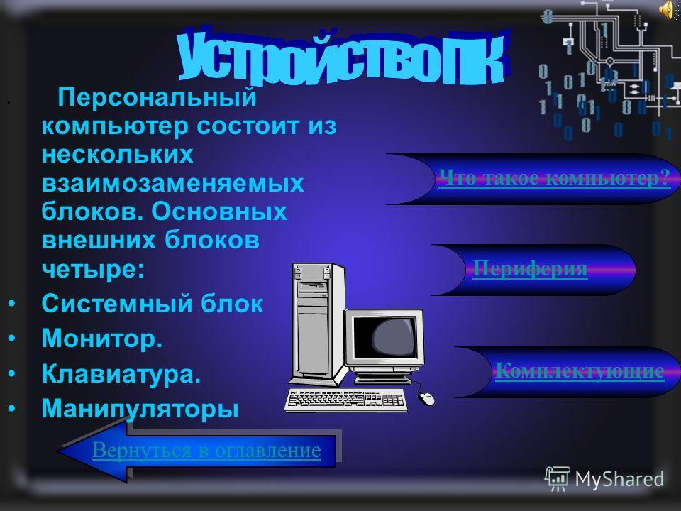 Персональный компьютер состоит из нескольких взаимозаменяемых блоков. Основных внешних блоков четыре: Системный блок Монитор. Клавиатура. Манипуляторы Вернуться в оглавление Периферия Комплектующие Что такое компьютер?