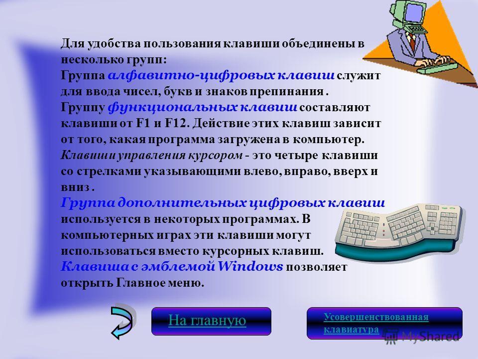 Для удобства пользования клавиши объединены в несколько групп: Группа алфавитно-цифровых клавиш служит для ввода чисел, букв и знаков препинания. Группу функциональных клавиш составляют клавиши от F1 и F12. Действие этих клавиш зависит от того, какая