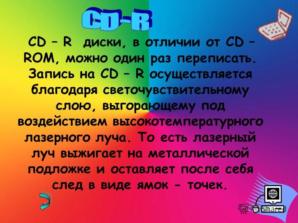 CD – R диски, в отличии от CD – ROM, можно один раз переписать. Запись на CD – R осуществляется благодаря светочувствительному слою, выгорающему под воздействием высокотемпературного лазерного луча. То есть лазерный луч выжигает на металлической подл