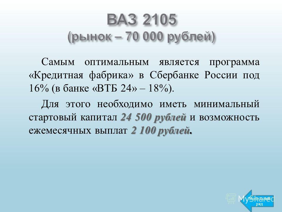 Самым оптимальным является программа « Кредитная фабрика » в Сбербанке России под 16% ( в банке « ВТБ 24» – 18%). 24 500 рублей 2 100 рублей. Для этого необходимо иметь минимальный стартовый капитал 24 500 рублей и возможность ежемесячных выплат 2 10
