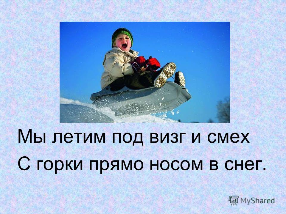 Мы летим под визг и смех С горки прямо носом в снег.