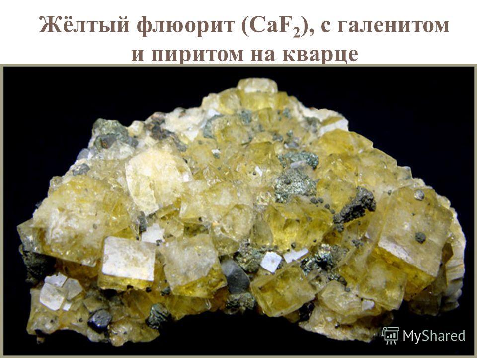 Жёлтый флюорит (CaF 2 ), с галенитом и пиритом на кварце