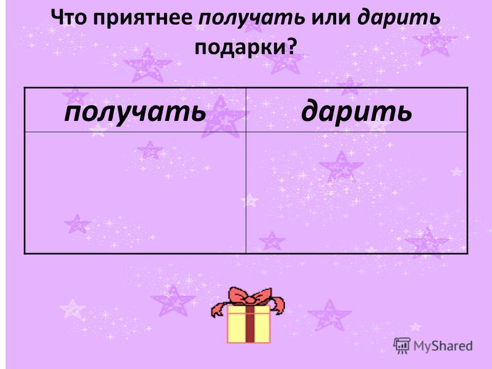 Что приятнее получать или дарить подарки? получатьдарить