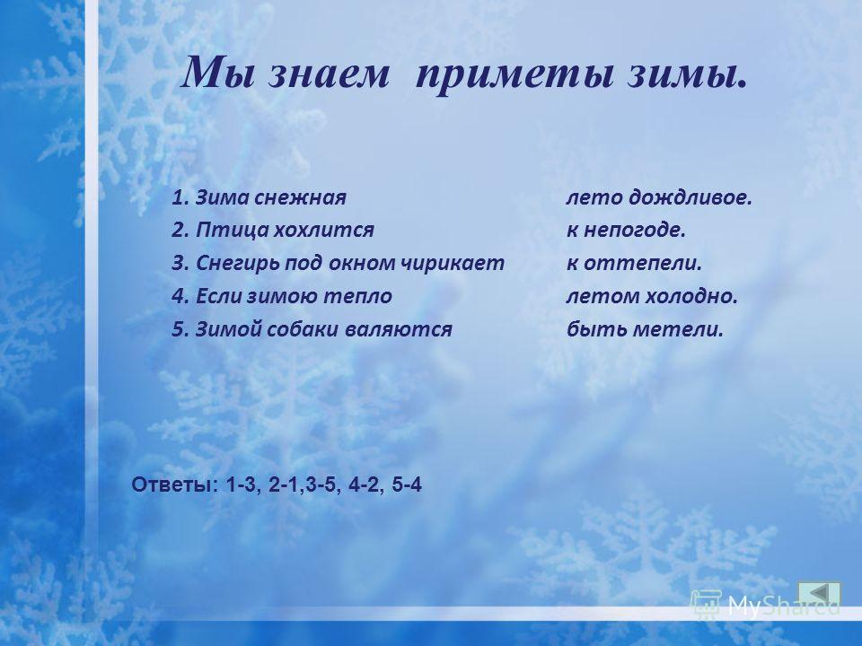 Мы знаем приметы зимы. 1. Зима снежная 2. Птица хохлится 3. Снегирь под окном чирикает 4. Если зимою тепло 5. Зимой собаки валяются лето дождливое. к непогоде. к оттепели. летом холодно. быть метели. Ответы: 1-3, 2-1,3-5, 4-2, 5-4