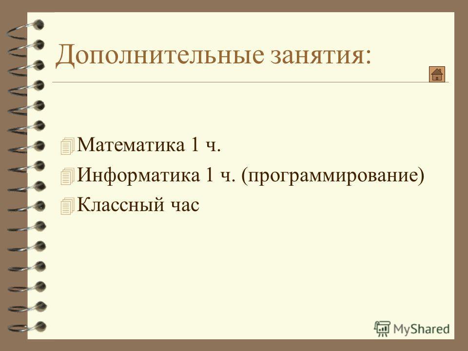Дополнительные занятия: 4 Математика 1 ч. 4 Информатика 1 ч. (программирование) 4 Классный час