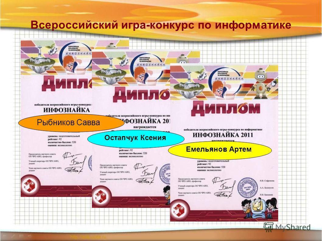 Всероссийский игра-конкурс по информатике Рыбников Савва Остапчук Ксения Емельянов Артем
