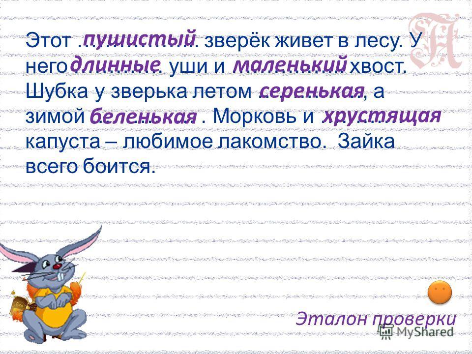 Этот ……………... зверёк живет в лесу. У него …………. уши и ………..…... хвост. Шубка у зверька летом ……………, а зимой ……………. Морковь и ………… капуста – любимое лакомство. Зайка всего боится. пушистый длинныемаленький серенькая беленькая хрустящая Эталон проверки