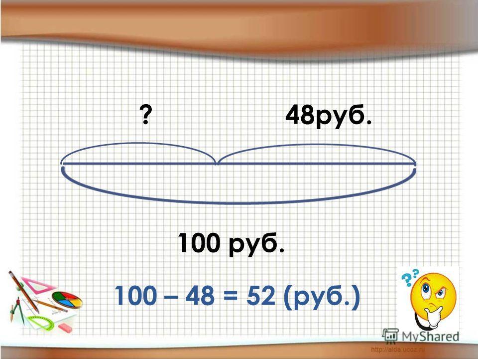 100 руб. 48руб.? 100 – 48 = 52 (руб.)
