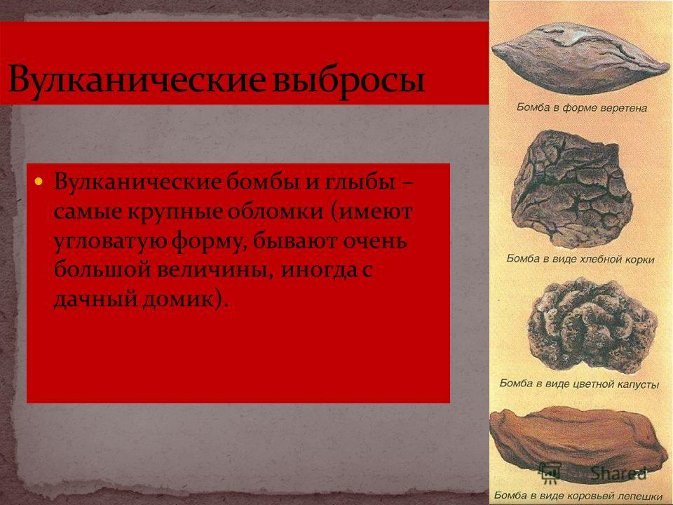 Вулканические бомбы и глыбы – самые крупные обломки (имеют угловатую форму, бывают очень большой величины, иногда с дачный домик). 22