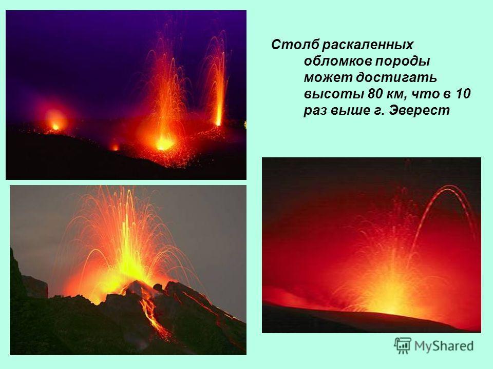 Столб раскаленных обломков породы может достигать высоты 80 км, что в 10 раз выше г. Эверест