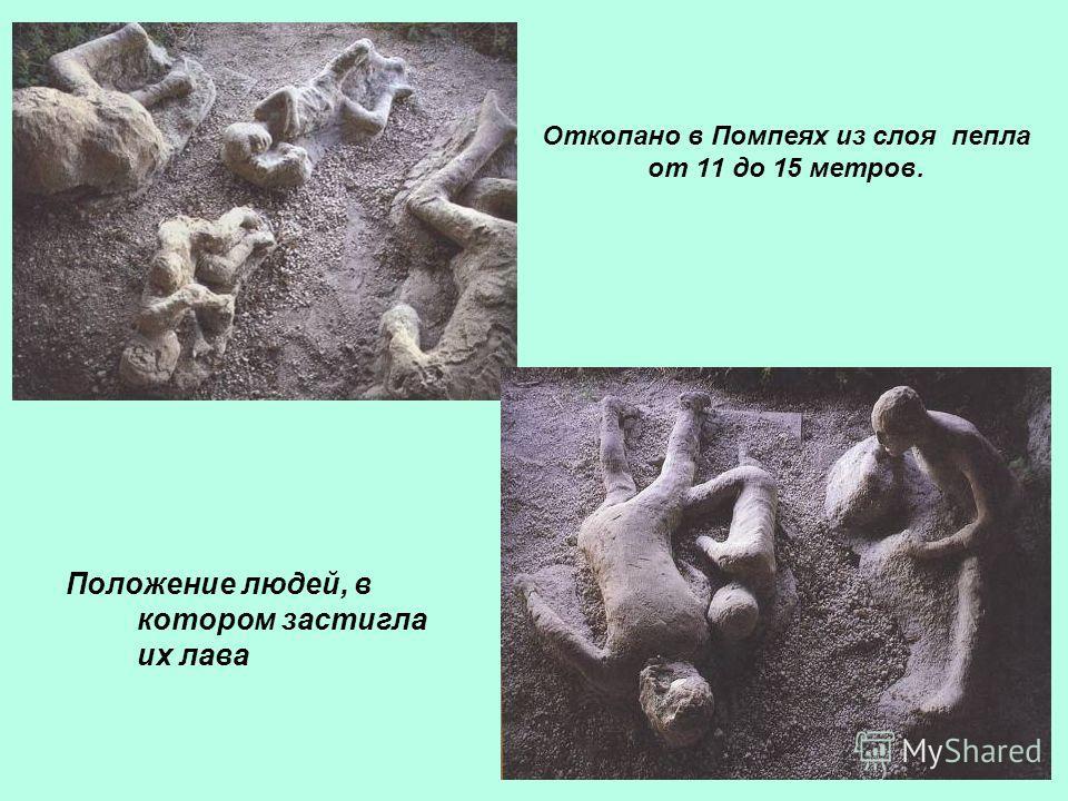 Откопано в Помпеях из слоя пепла от 11 до 15 метров. Положение людей, в котором застигла их лава