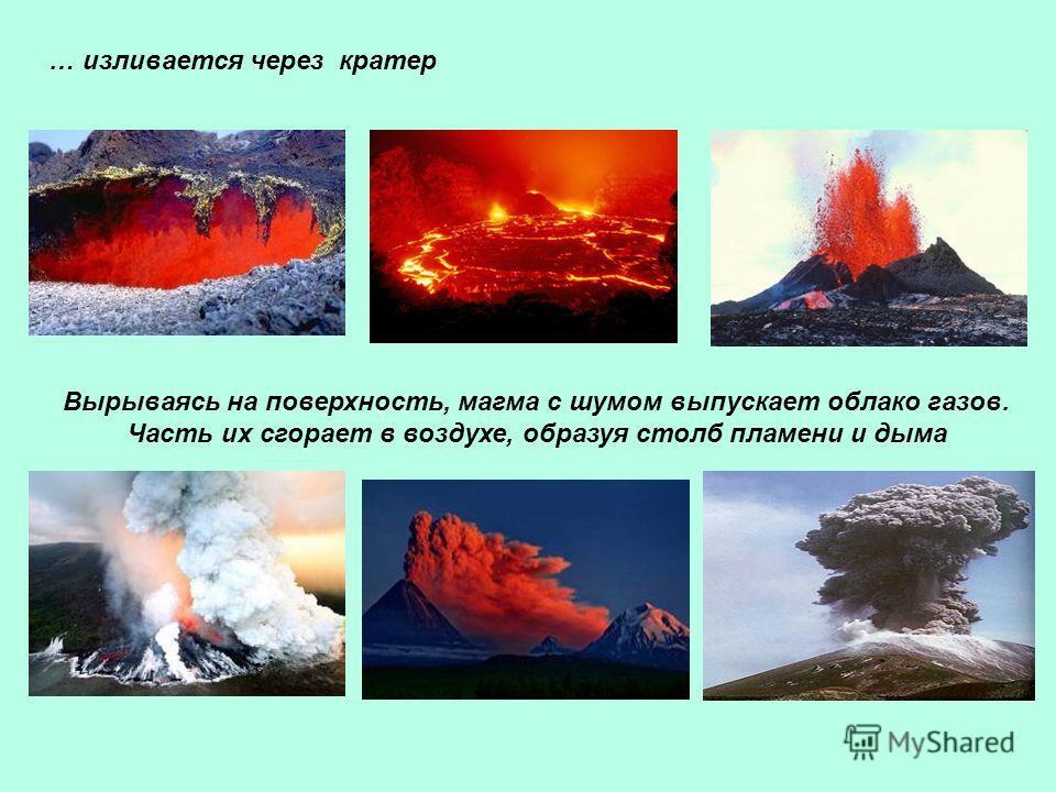 … изливается через кратер Вырываясь на поверхность, магма с шумом выпускает облако газов. Часть их сгорает в воздухе, образуя столб пламени и дыма