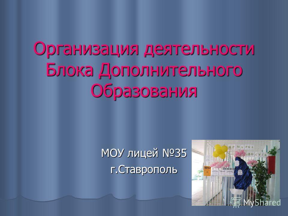 Организация деятельности Блока Дополнительного Образования МОУ лицей 35 г.Ставрополь