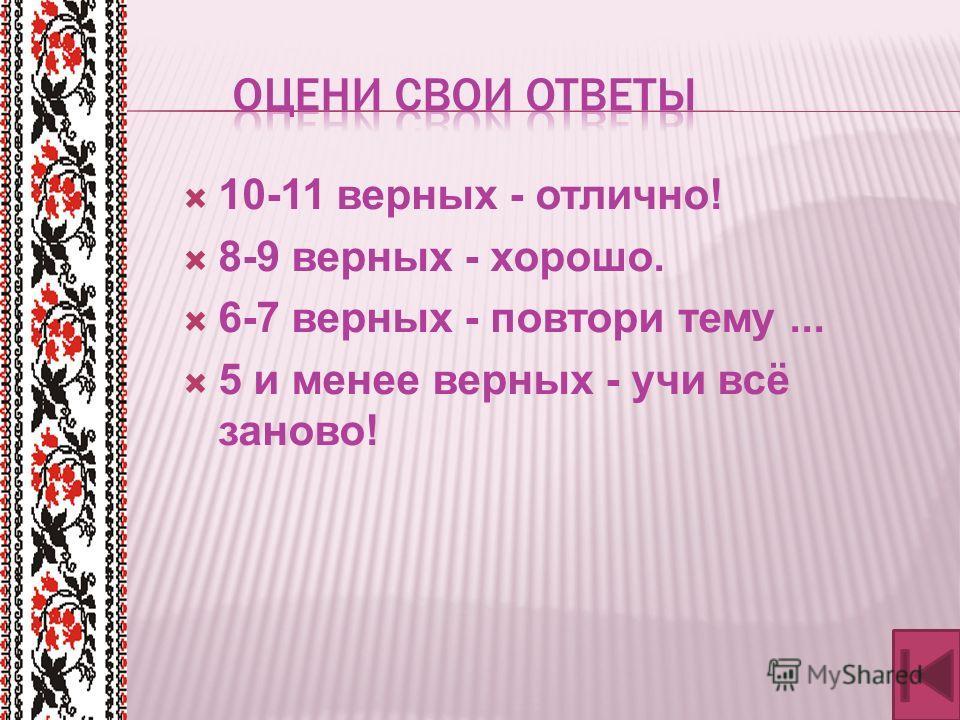 10-11 верных - отлично! 8-9 верных - хорошо. 6-7 верных - повтори тему... 5 и менее верных - учи всё заново!