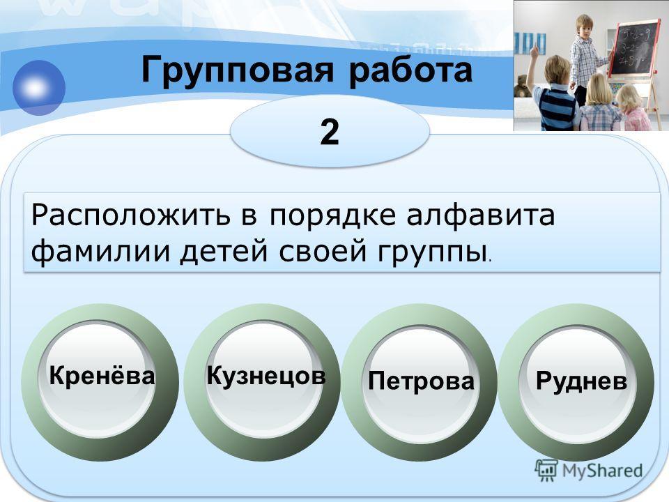 Групповая работа 2 2 Расположить в порядке алфавита фамилии детей своей группы. КренёваКузнецов ПетроваРуднев