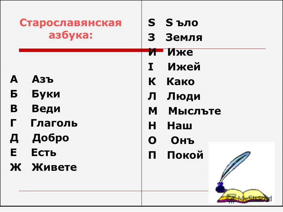 Старославянская азбука: А Азъ Б Буки В Веди Г Глаголь Д Добро Е Есть Ж Живете S S ъло З Земля И Иже I Ижей К Како Л Люди М Мыслъте Н Наш О Онъ П Покой
