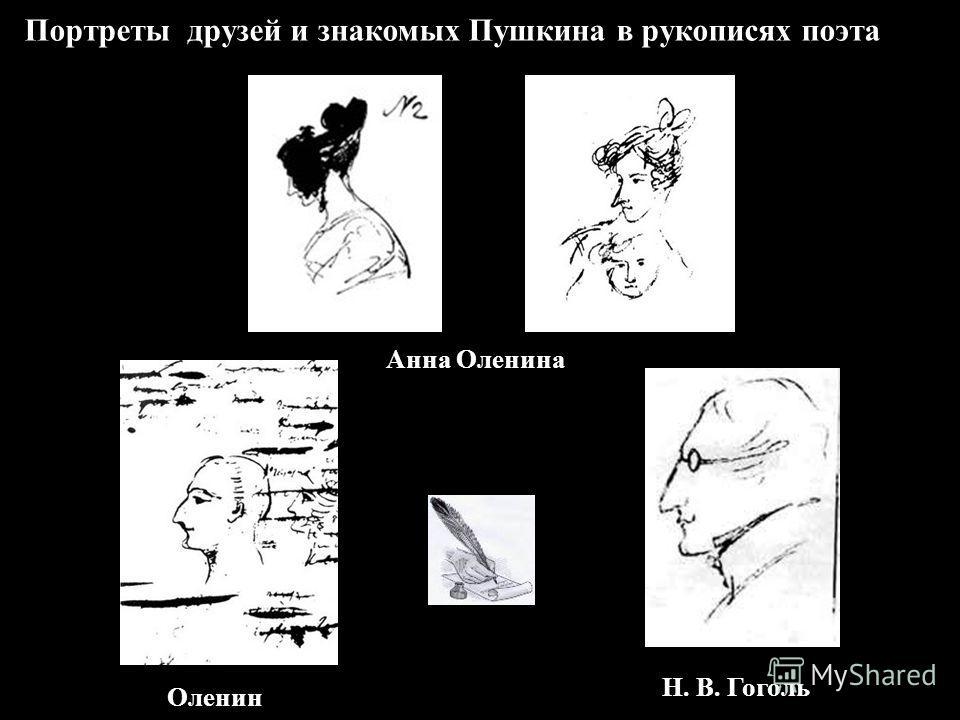 Портреты друзей и знакомых Пушкина в рукописях поэта Анна Оленина Н. В. Гоголь Оленин
