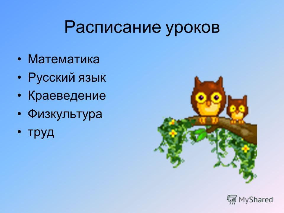 Расписание уроков Математика Русский язык Краеведение Физкультура труд
