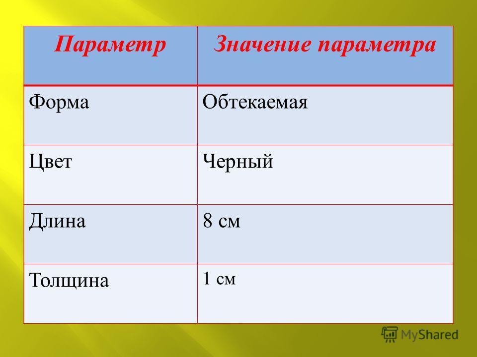 Параметр Значение параметра ФормаОбтекаемая ЦветЧерный Длина 8 см Толщина 1 см