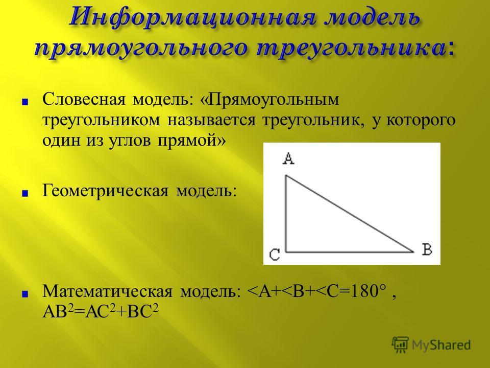Словесная модель : « Прямоугольным треугольником называется треугольник, у которого один из углов прямой » Геометрическая модель : Математическая модель : < А +< В +< С =180°, АВ 2 = АС 2 + ВС 2