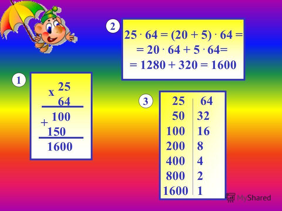 25 64 100 150 1600 х + 1 25. 64 = (20 + 5). 64 = = 20. 64 + 5. 64= = 1280 + 320 = 1600 2 25 64 50 32 100 16 200 8 400 4 800 2 1600 1 3