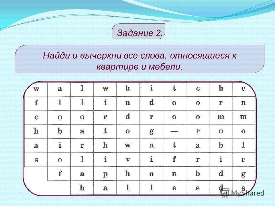 S O A FRIDGE W I N D O P H O N WALLА R M H A I R CLOCK D О O ROOM 6.3. 2. 4. 8. 1. 9. 5. 7. Keys – ответы к заданию 1. 1.1. 2. 3. 4. 5. 6. 7. 8. 9.