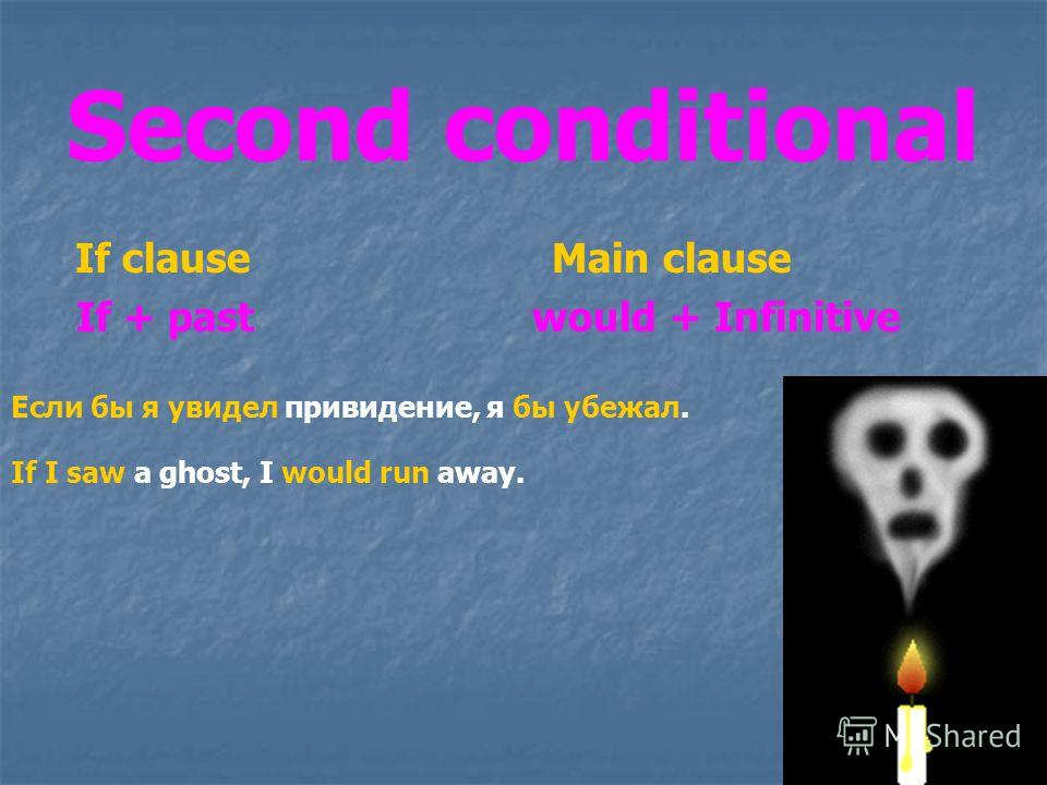Second conditional If clause Main clause If + past would + Infinitive Если бы я увидел привидение, я бы убежал. If I saw a ghost, I would run away.