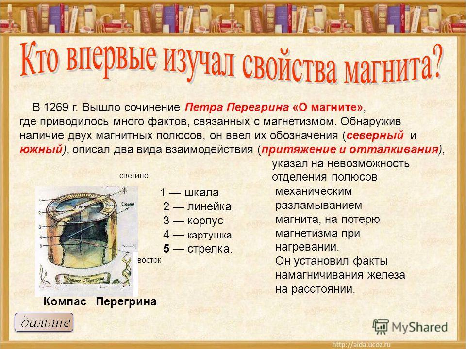 1 шкала 2 линейка 3 корпус 4 картушка 5 стрелка. светило восток В 1269 г. Вышло сочинение Петра Перегрина «О магните», где приводилось много фактов, связанных с магнетизмом. Обнаружив наличие двух магнитных полюсов, он ввел их обозначения (северный и