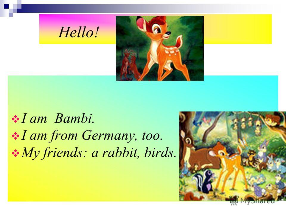 Hello! I am Bambi. I am from Germany, too. My friends: a rabbit, birds.