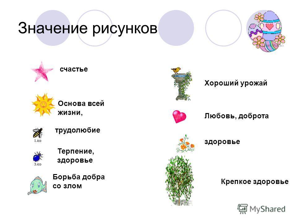 Значение рисунков счастье Основа всей жизни, трудолюбие Терпение, здоровье Борьба добра со злом Хороший урожай Любовь, доброта здоровье Крепкое здоровье