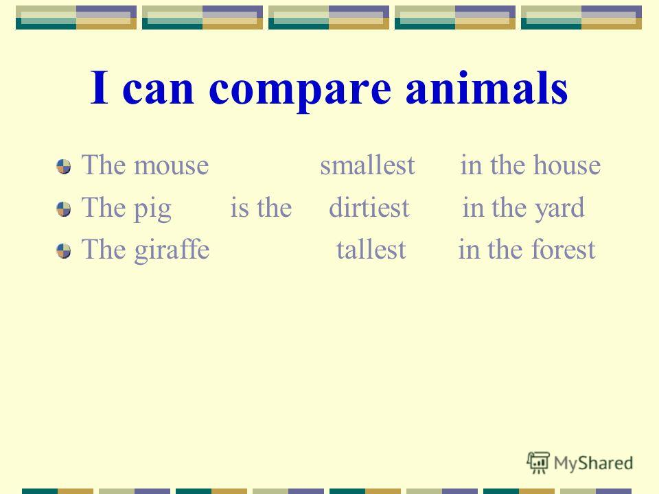 Can compare animals the mouse smallest in the house the pig is the