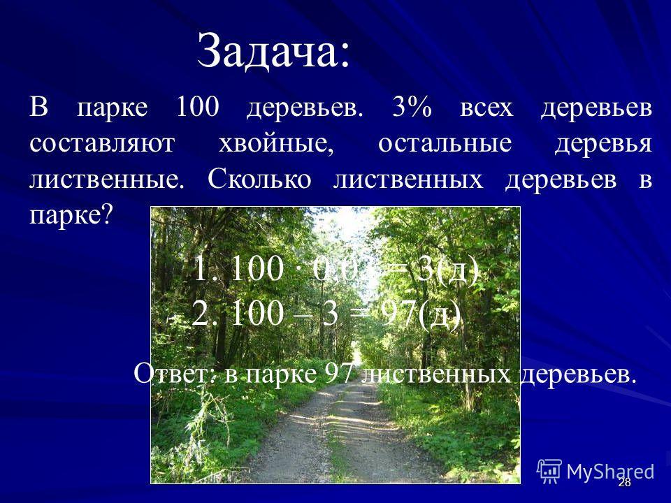 28 Задача: В парке 100 деревьев. 3% всех деревьев составляют хвойные, остальные деревья лиственные. Сколько лиственных деревьев в парке? 1. 100 0,03 = 3(д) 2. 100 – 3 = 97(д) Ответ: в парке 97 лиственных деревьев.
