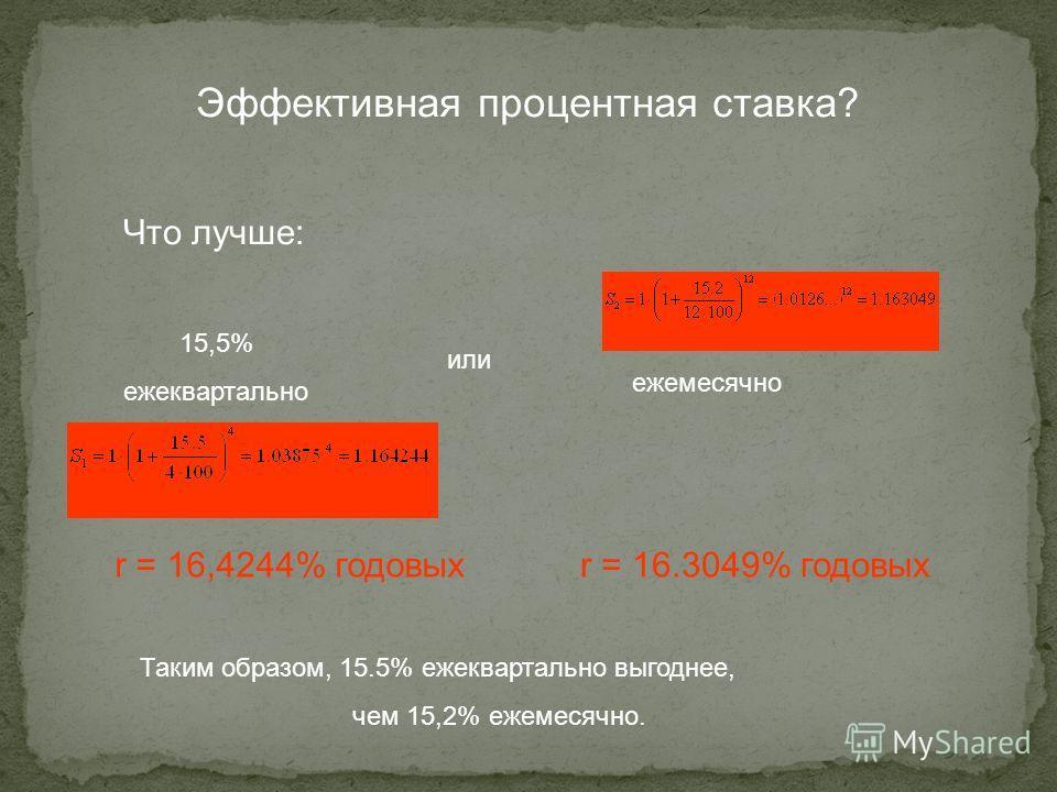 Эффективная процентная ставка? Что лучше: 15,5% ежеквартально или 15,2% ежемесячно Таким образом, 15.5% ежеквартально выгоднее, чем 15,2% ежемесячно. r = 16,4244% годовых r = 16.3049% годовых