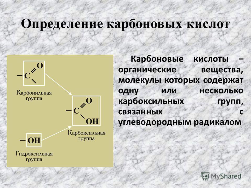 Определение карбоновых кислот Карбоновые кислоты – органические вещества, молекулы которых содержат одну или несколько карбоксильных групп, связанных с углеводородным радикалом