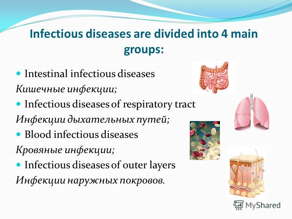 Infectious diseases are divided into 4 main groups: Intestinal infectious diseases Кишечные инфекции; Infectious diseases of respiratory tract Инфекции дыхательных путей; Blood infectious diseases Кровяные инфекции; Infectious diseases of outer layer