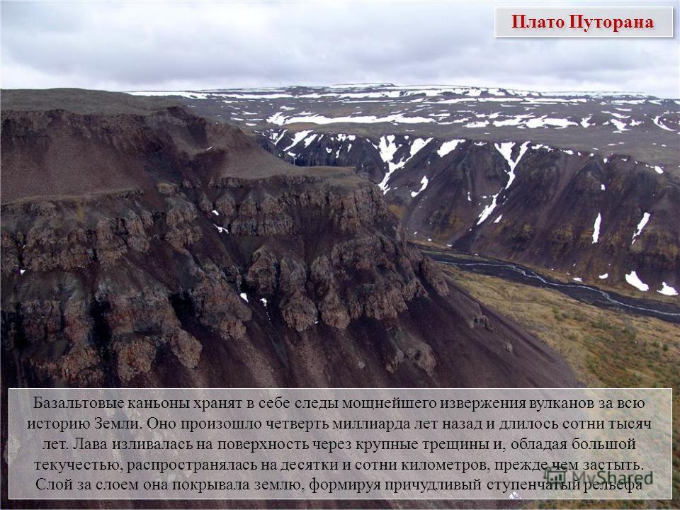 Плато Путорана Базальтовые каньоны хранят в себе следы мощнейшего извержения вулканов за всю историю Земли. Оно произошло четверть миллиарда лет назад и длилось сотни тысяч лет. Лава изливалась на поверхность через крупные трещины и, обладая большой