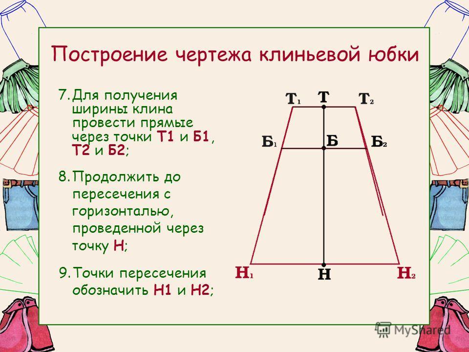 Построение чертежа клиньевой юбки 7.Для получения ширины клина провести прямые через точки Т1 и Б1, Т2 и Б2; 8.Продолжить до пересечения с горизонталью, проведенной через точку Н; 9.Точки пересечения обозначить Н1 и Н2;