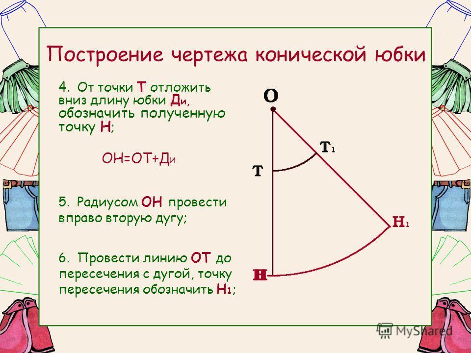 Построение чертежа конической юбки 4.От точки Т отложить вниз длину юбки Д и, обозначить полученную точку Н ; ОН=ОТ+Д И 5.Радиусом ОН провести вправо вторую дугу; 6.Провести линию ОТ до пересечения с дугой, точку пересечения обозначить Н 1 ;