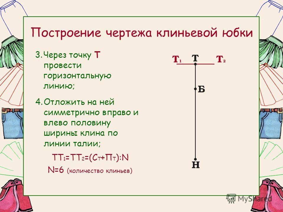Построение чертежа клиньевой юбки 3.Через точку Т провести горизонтальную линию; 4.Отложить на ней симметрично вправо и влево половину ширины клина по линии талии; ТТ 1 =ТТ 2 =(С Т +П Т ):N N=6 (количество клиньев)