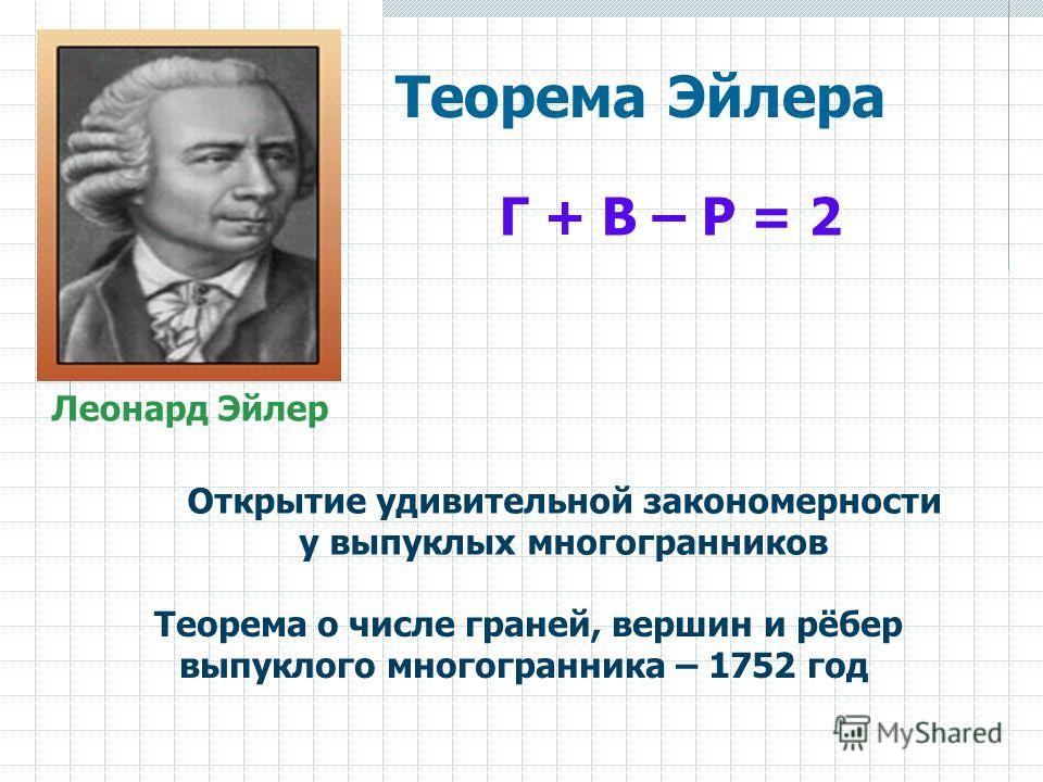 Г + В – Р = 2 Открытие удивительной закономерности у выпуклых многогранников Теорема о числе граней, вершин и рёбер выпуклого многогранника – 1752 год Леонард Эйлер Теорема Эйлера