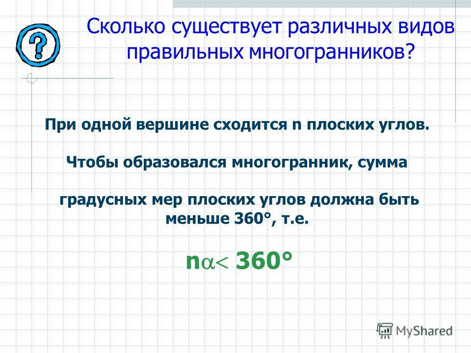 Сколько существует различных видов правильных многогранников? При одной вершине сходится n плоских углов. Чтобы образовался многогранник, сумма градусных мер плоских углов должна быть меньше 360°, т.е. n 360°