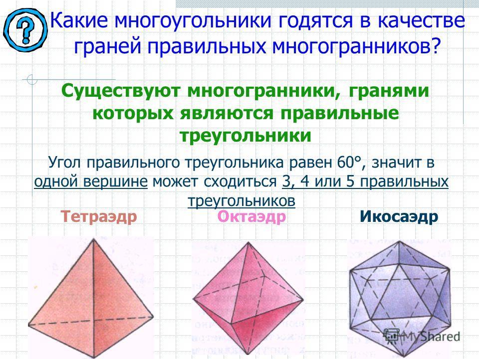 Какие многоугольники годятся в качестве граней правильных многогранников? Угол правильного треугольника равен 60°, значит в одной вершине может сходиться 3, 4 или 5 правильных треугольников ТетраэдрОктаэдрИкосаэдр Существуют многогранники, гранями ко