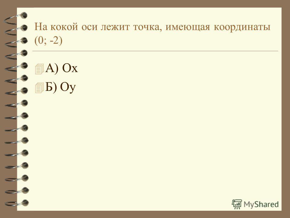 На кокой оси лежит точка, имеющая координаты (0; -2) 4А4А) Ох 4Б4Б) Оу