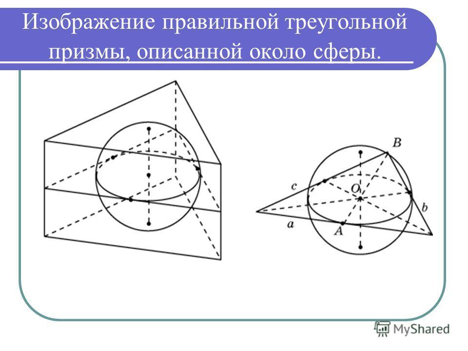 Изображение правильной треугольной призмы, описанной около сферы.