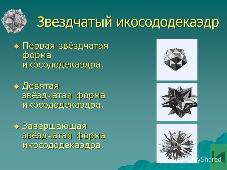 Первая звёздчатая форма икосододекаэдра. Первая звёздчатая форма икосододекаэдра. Девятая звёздчатая форма икосододекаэдра. Девятая звёздчатая форма икосододекаэдра. Завершающая звёздчатая форма икосододекаэдра. Завершающая звёздчатая форма икосододе